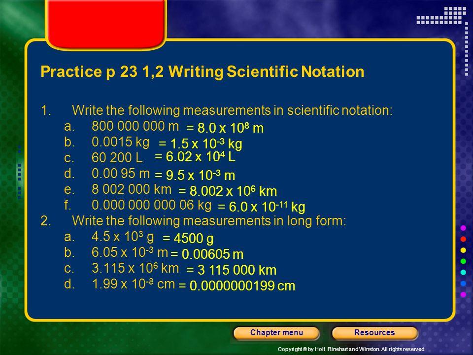 Practice p 23 1,2 Writing Scientific Notation