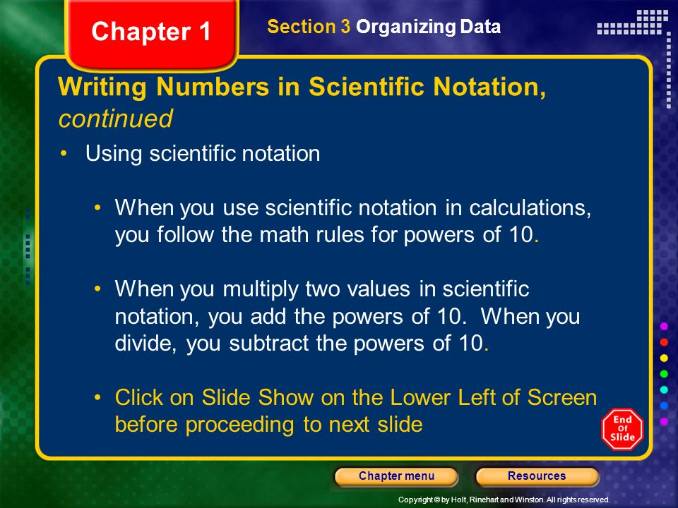 Writing Numbers in Scientific Notation, continued