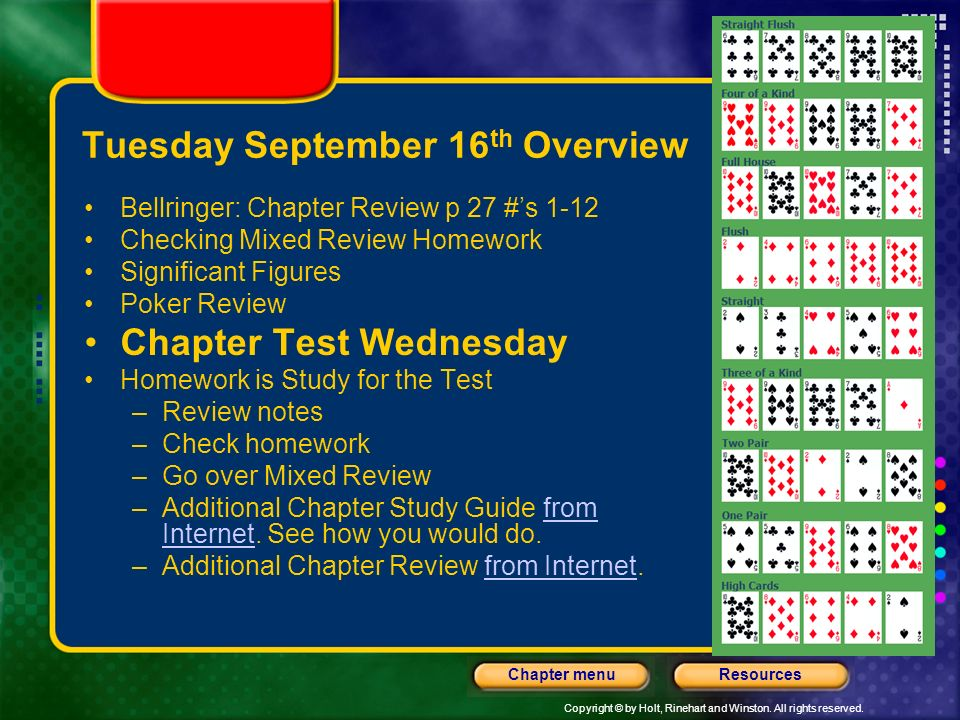 Tuesday September 16th Overview