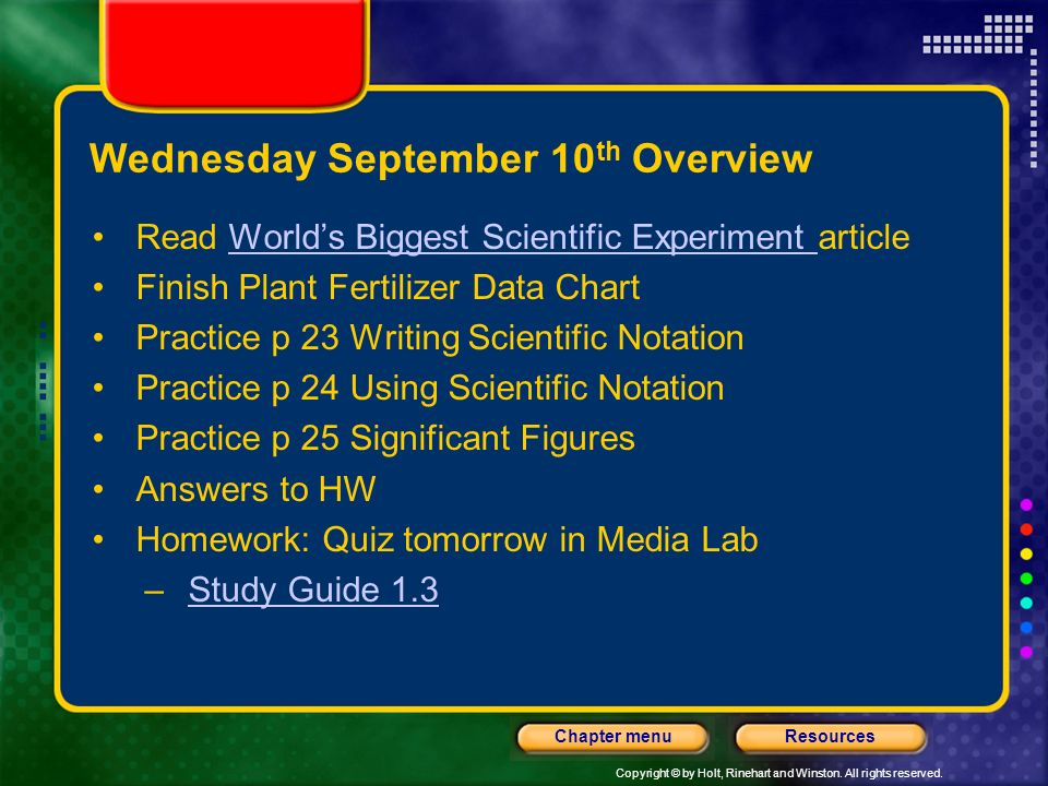 Wednesday September 10th Overview