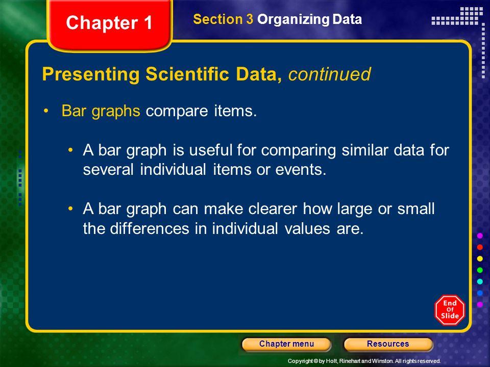 Presenting Scientific Data, continued