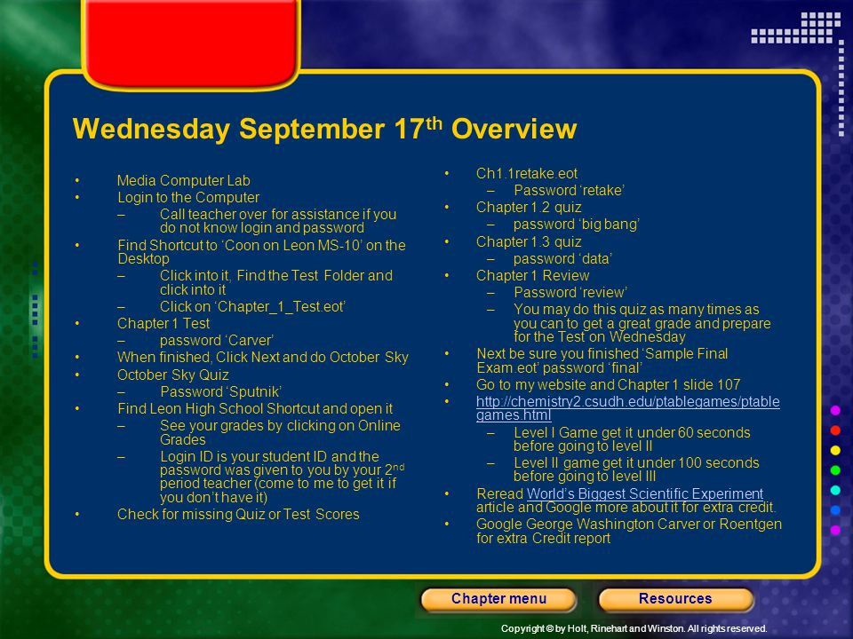 Wednesday September 17th Overview