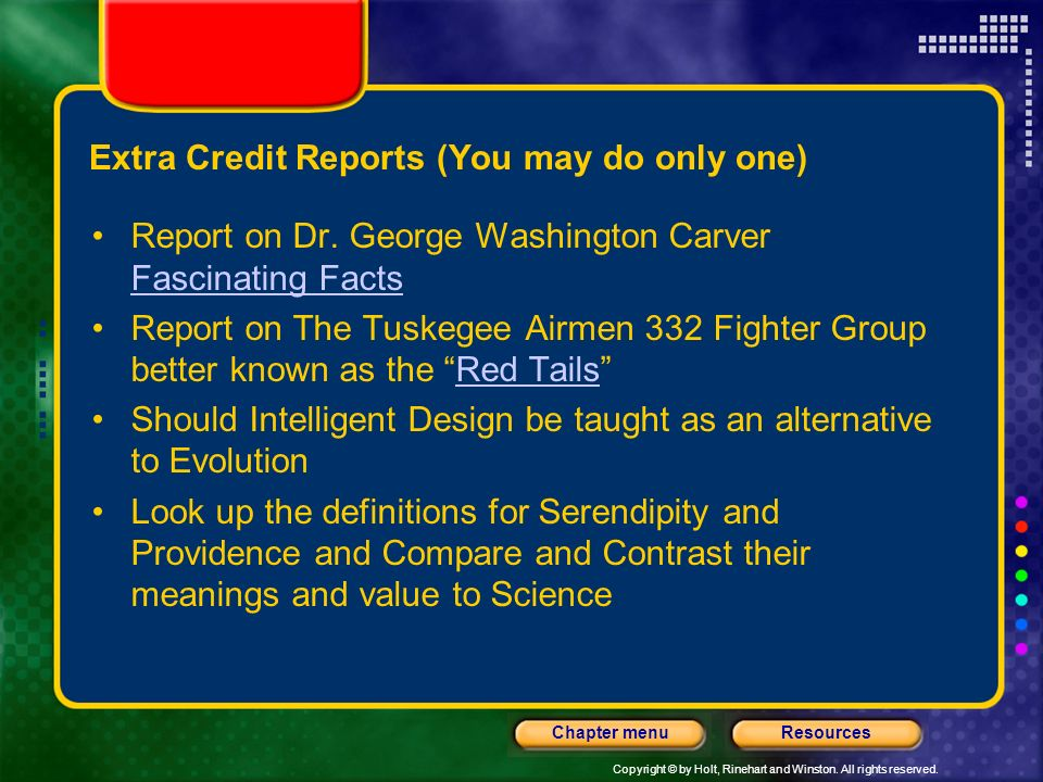 Extra Credit Reports (You may do only one)