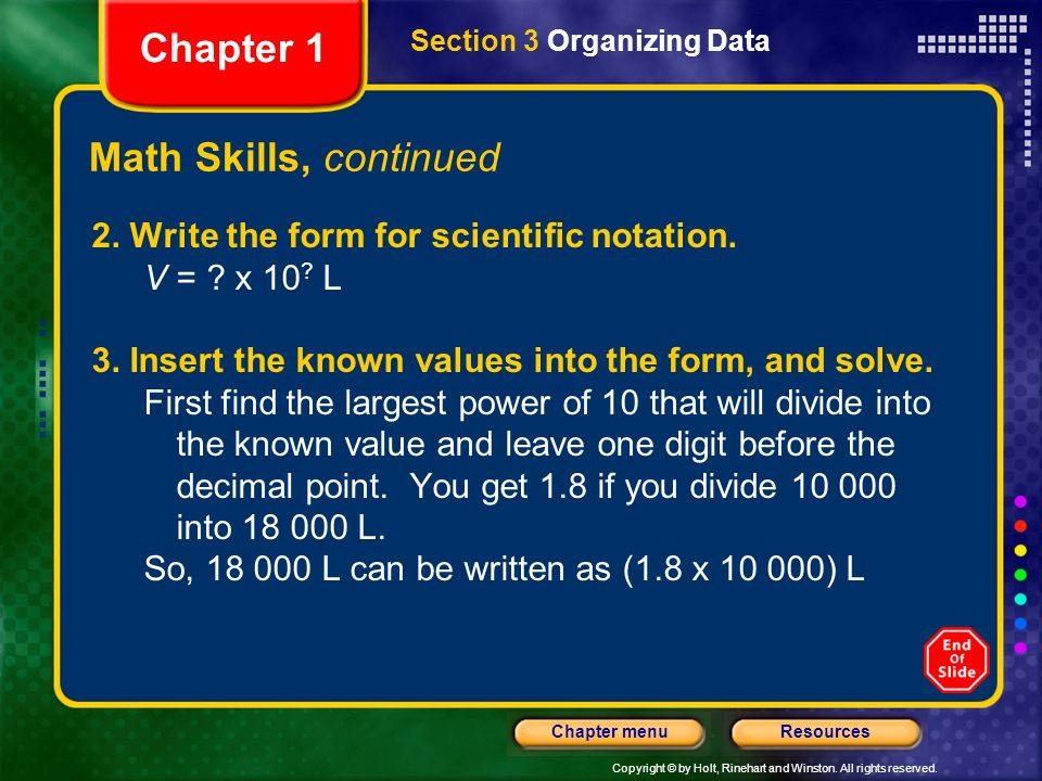 Chapter 1 Math Skills, continued