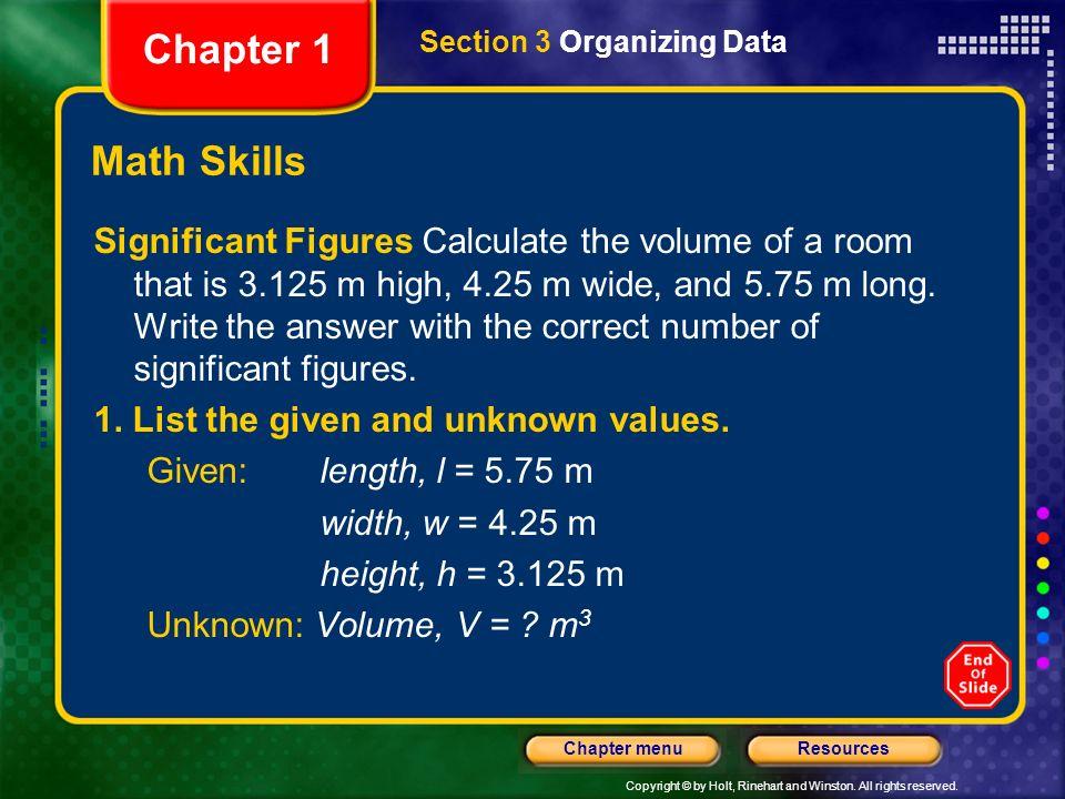 Chapter 1 Section 3 Organizing Data. Math Skills.
