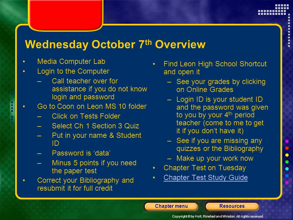 Wednesday October 7th Overview