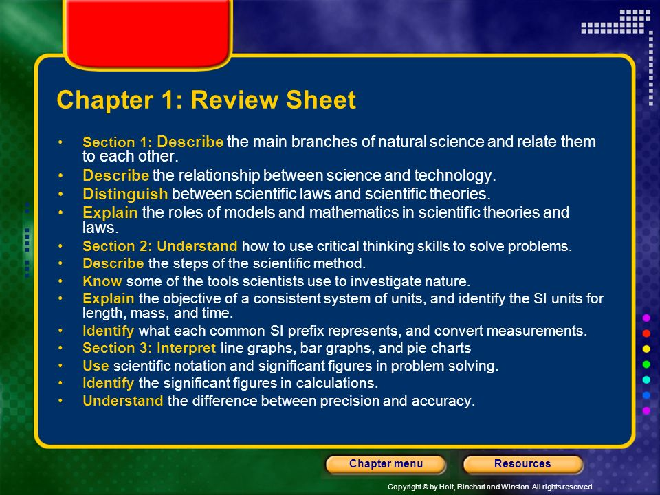 Chapter 1: Review Sheet Section 1: Describe the main branches of natural science and relate them to each other.