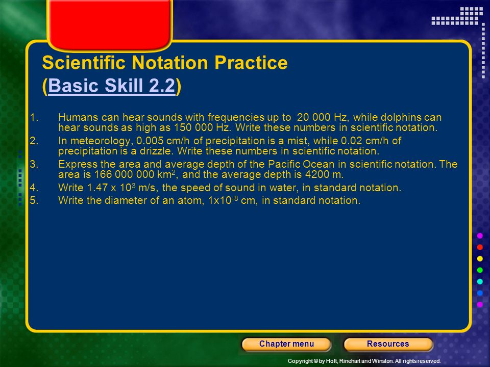 Scientific Notation Practice (Basic Skill 2.2)
