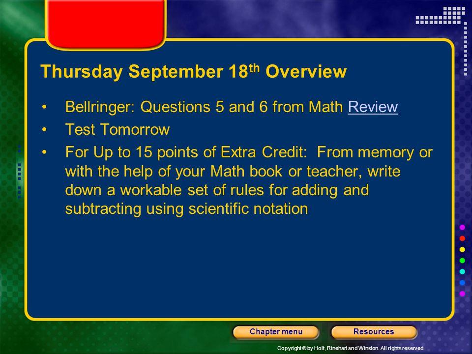 Thursday September 18th Overview