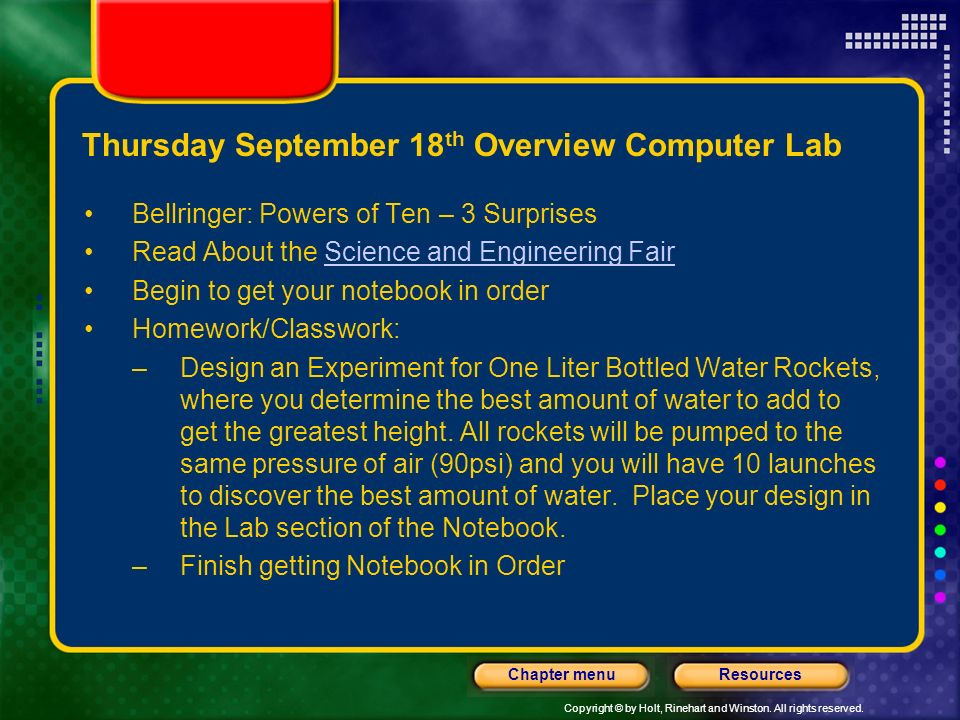 Thursday September 18th Overview Computer Lab