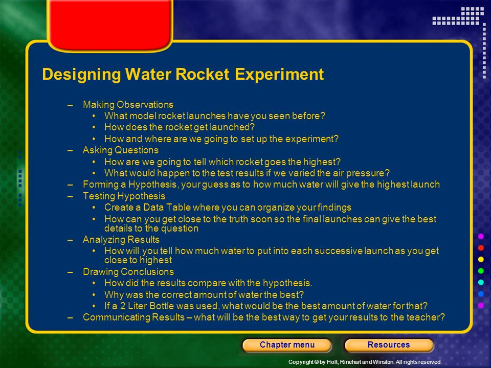 Designing Water Rocket Experiment
