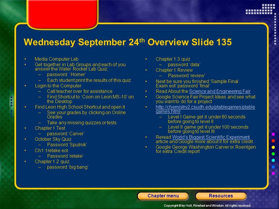 Wednesday September 24th Overview Slide 135