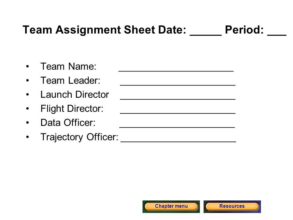 Team Assignment Sheet Date: _____ Period: ___