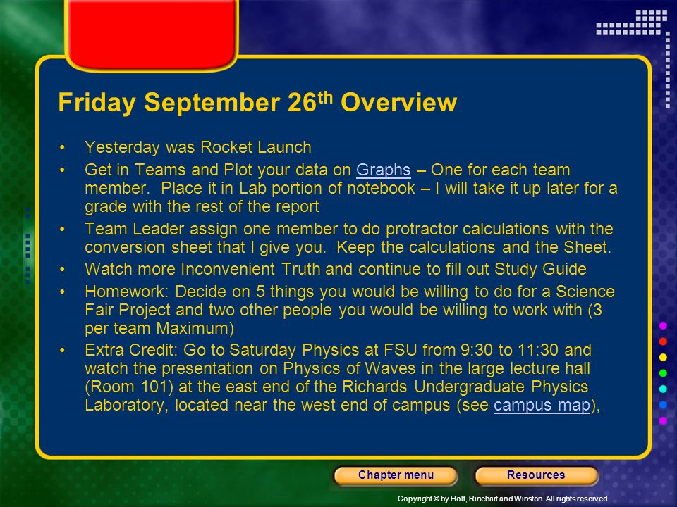 Friday September 26th Overview