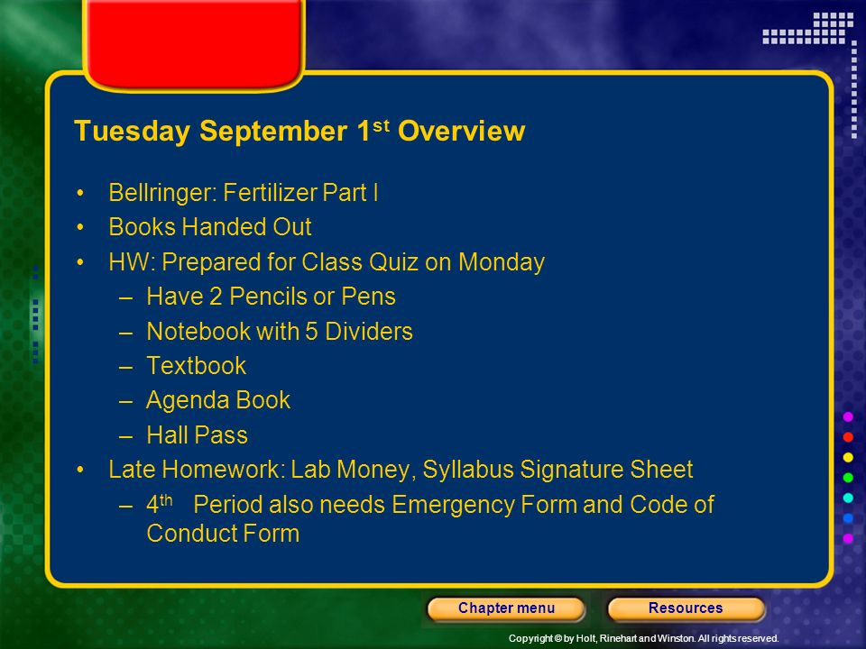 Tuesday September 1st Overview