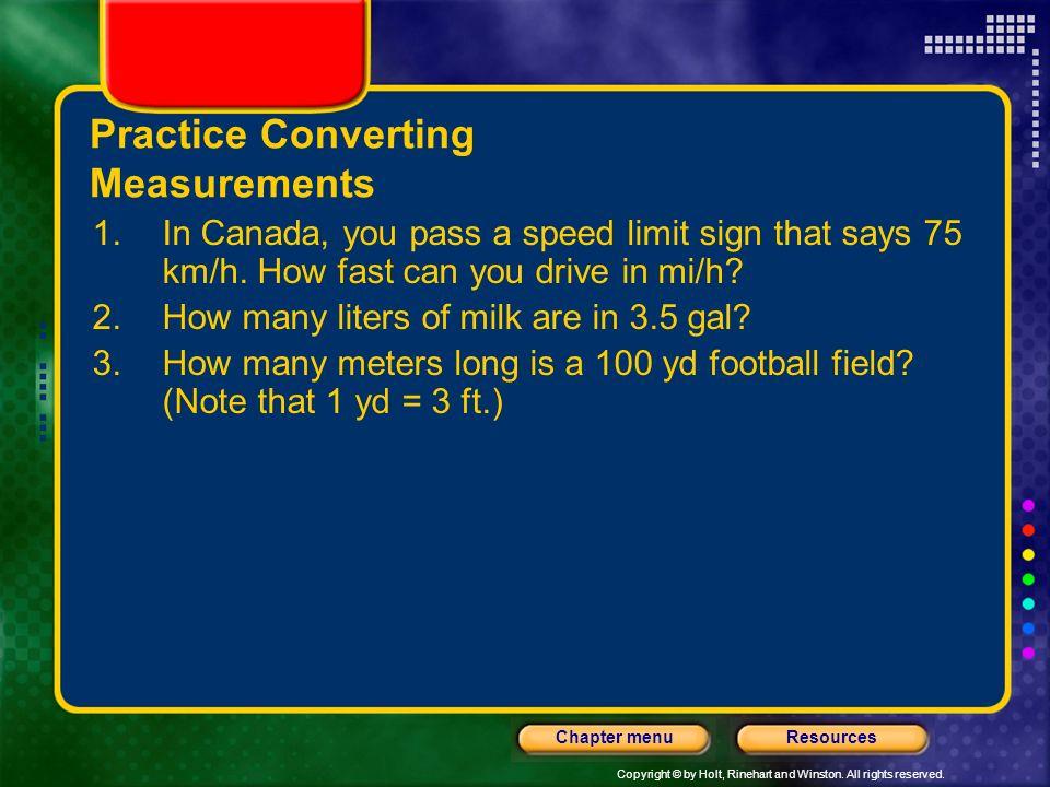 Practice Converting Measurements
