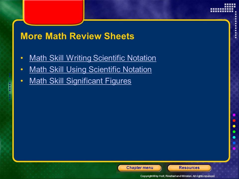 More Math Review Sheets