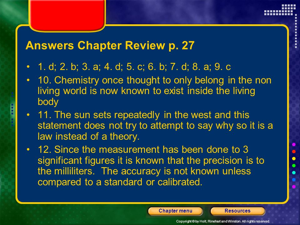 Answers Chapter Review p. 27