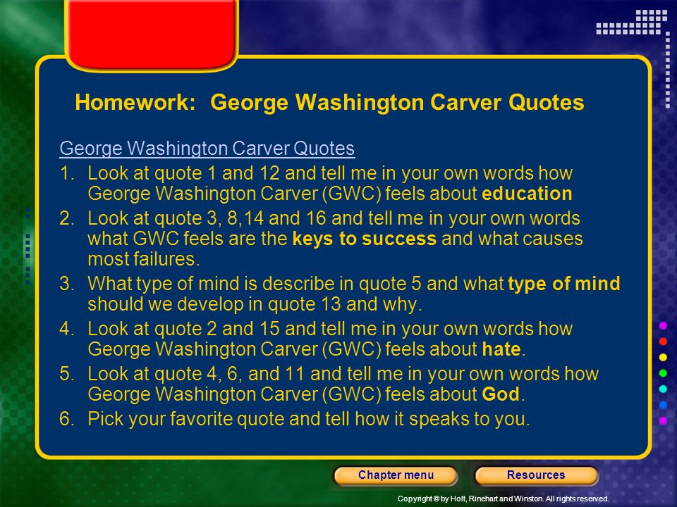 Homework: George Washington Carver Quotes