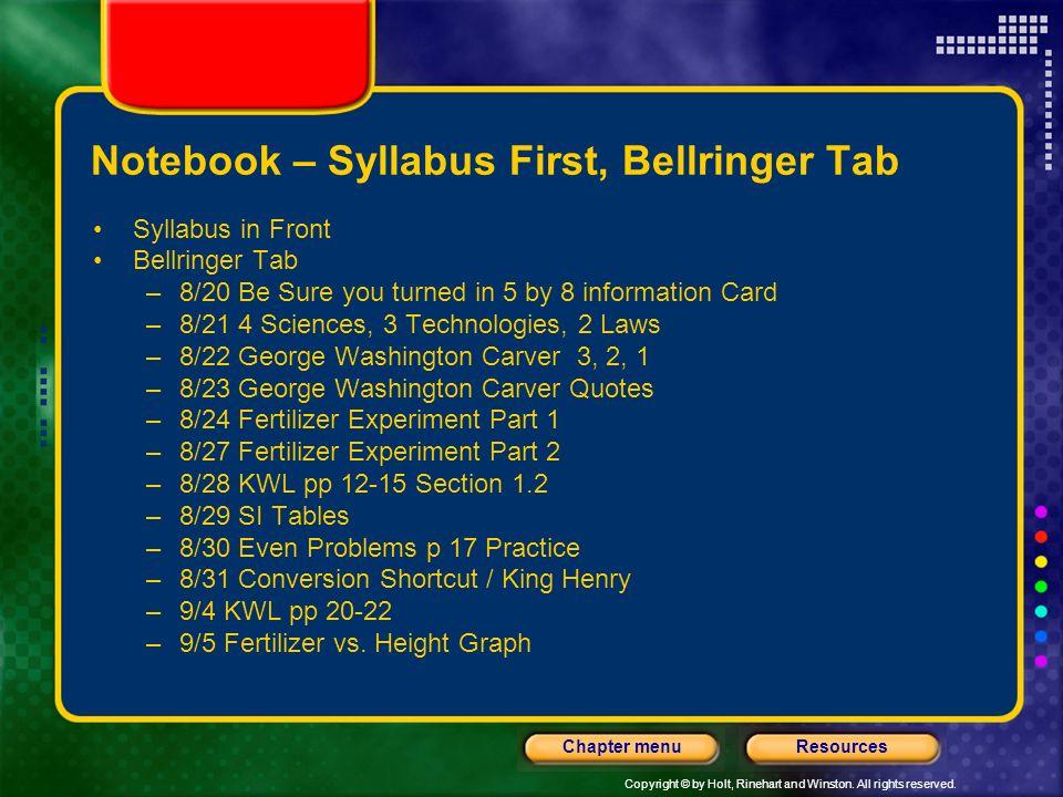 Notebook – Syllabus First, Bellringer Tab
