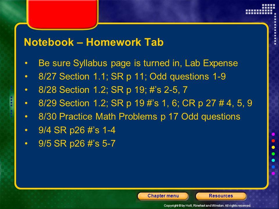 Notebook – Homework Tab