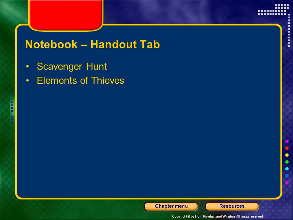 Notebook – Handout Tab Scavenger Hunt Elements of Thieves