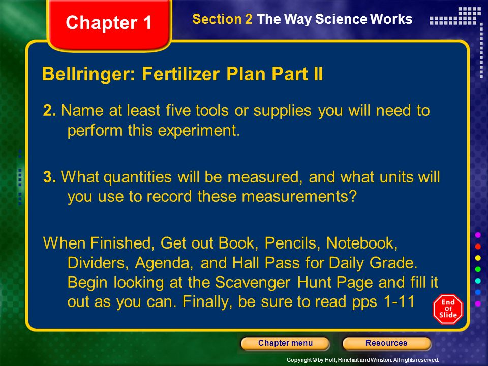 Bellringer: Fertilizer Plan Part II