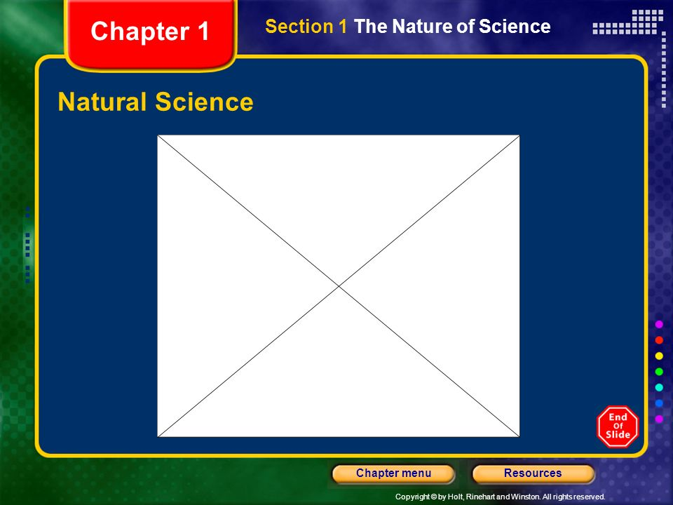 Chapter 1 Section 1 The Nature of Science Natural Science