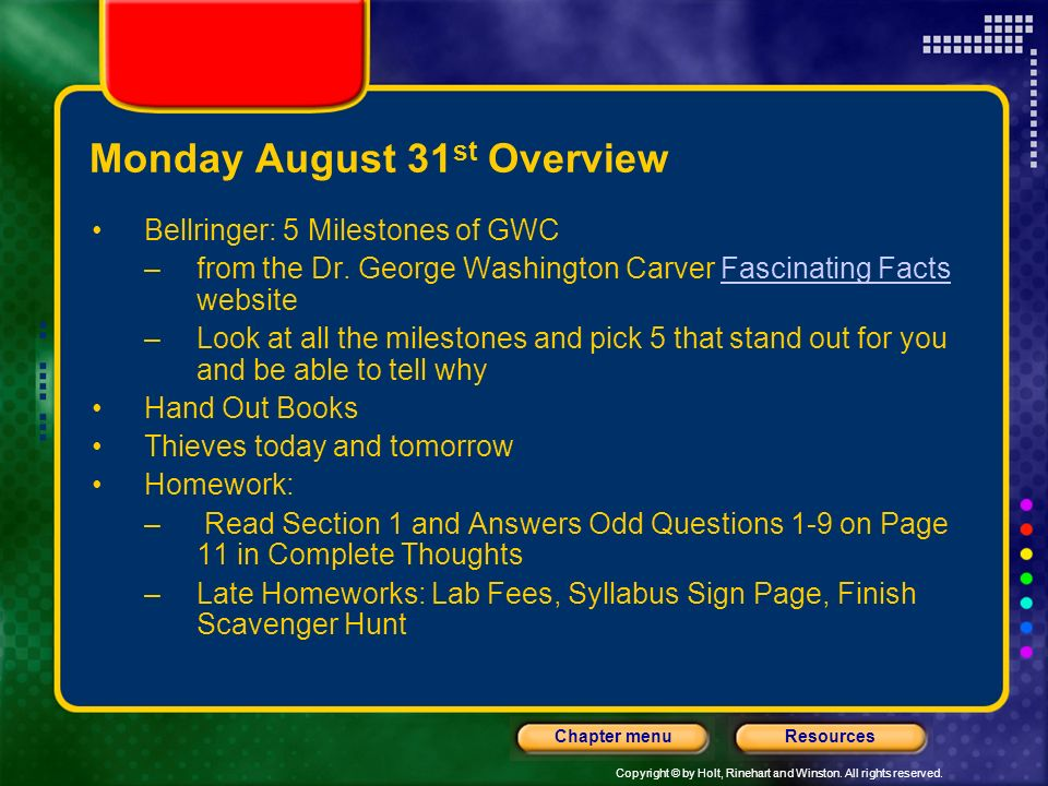 Monday August 31st Overview
