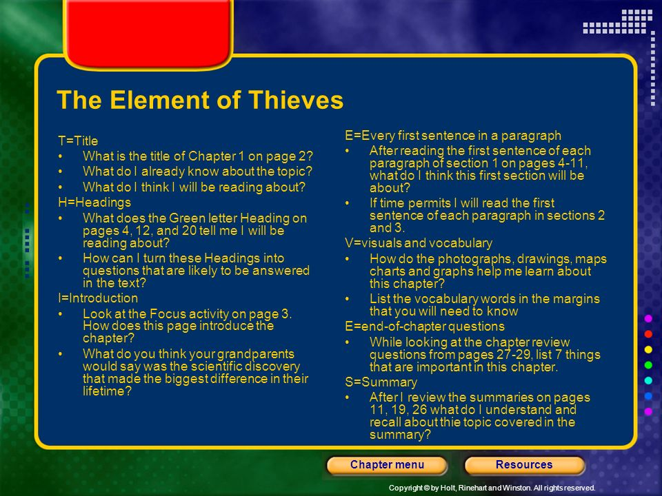 The Element of Thieves E=Every first sentence in a paragraph T=Title