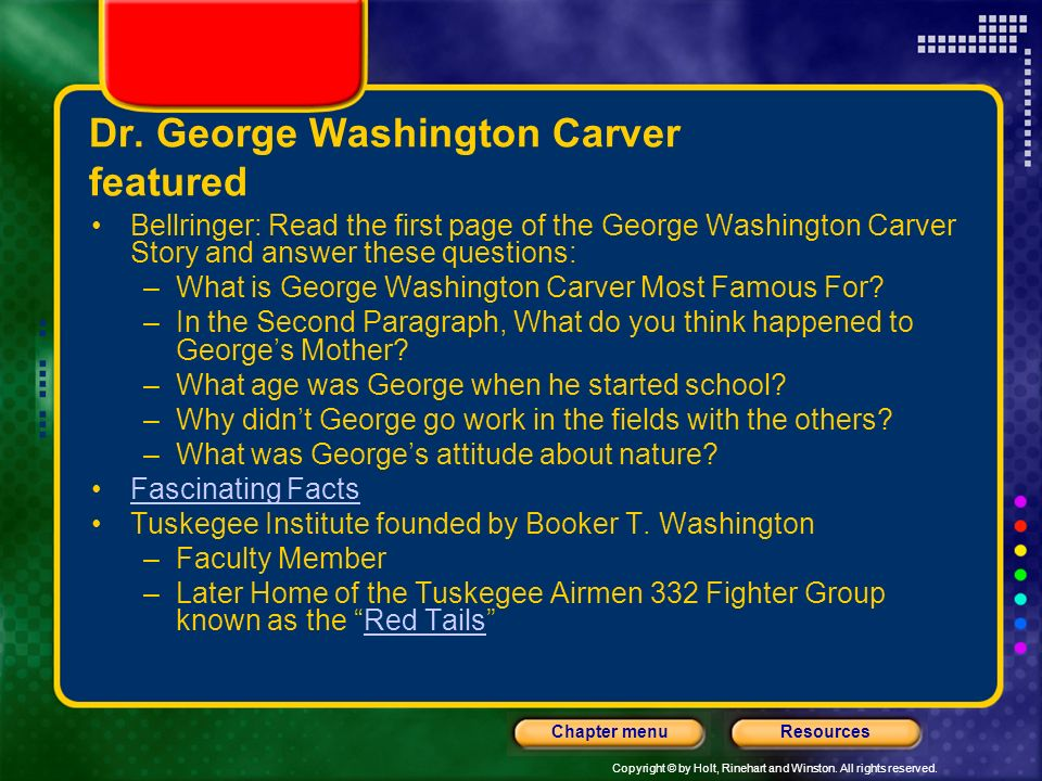 Dr. George Washington Carver featured