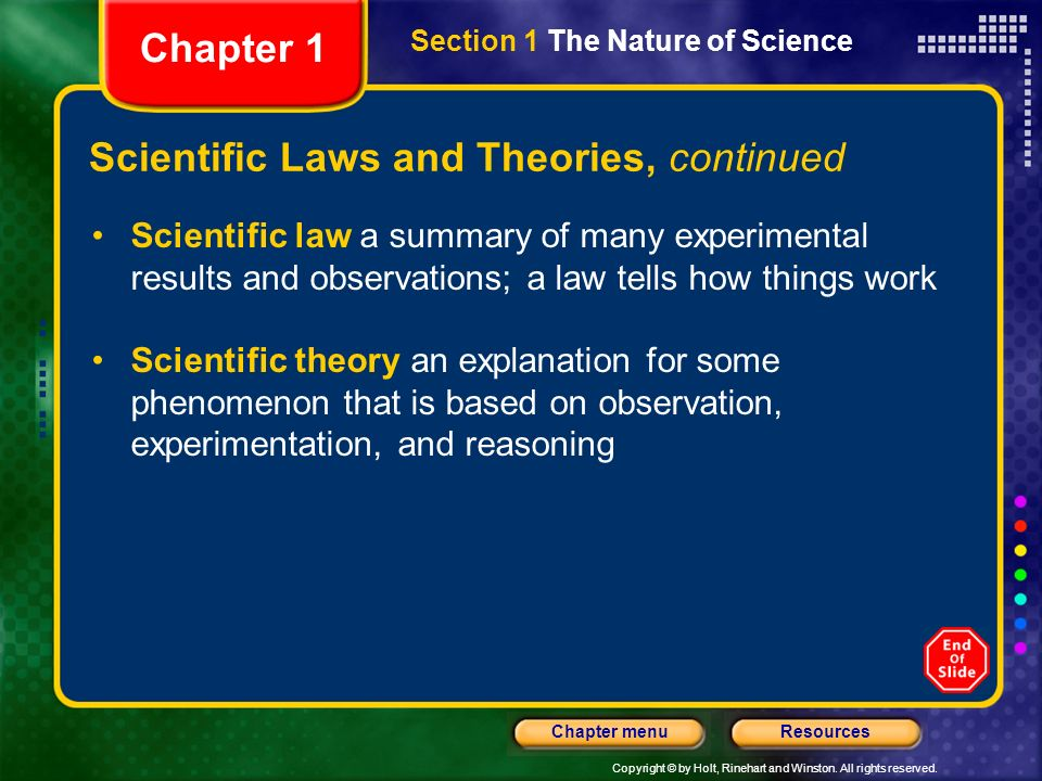 Scientific Laws and Theories, continued