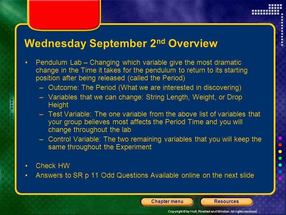 Wednesday September 2nd Overview
