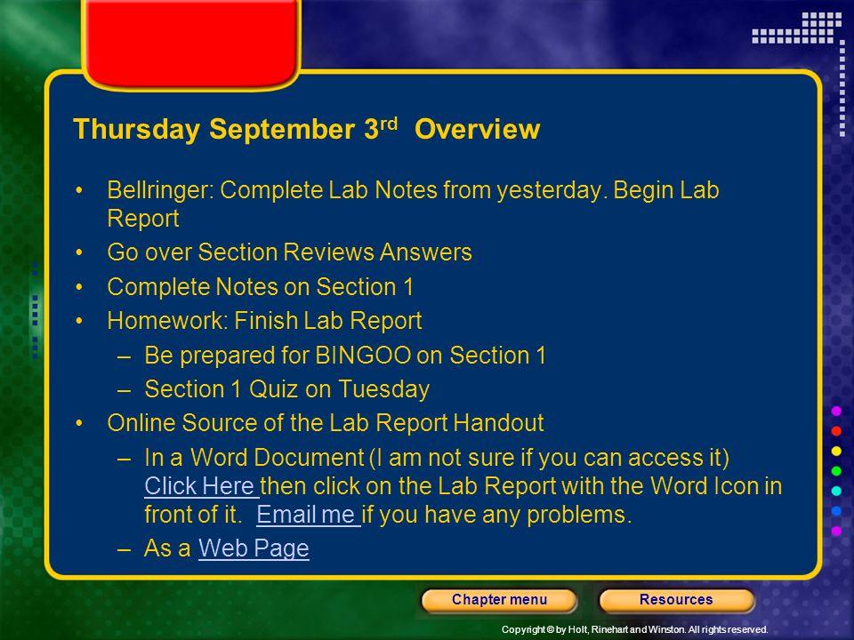 Thursday September 3rd Overview