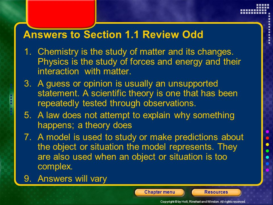 Answers to Section 1.1 Review Odd