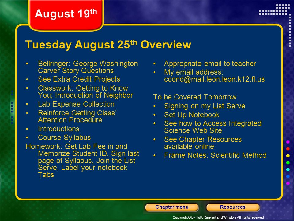 Tuesday August 25th Overview