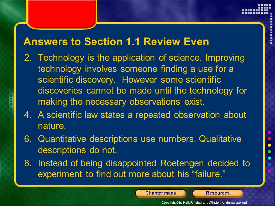 Answers to Section 1.1 Review Even