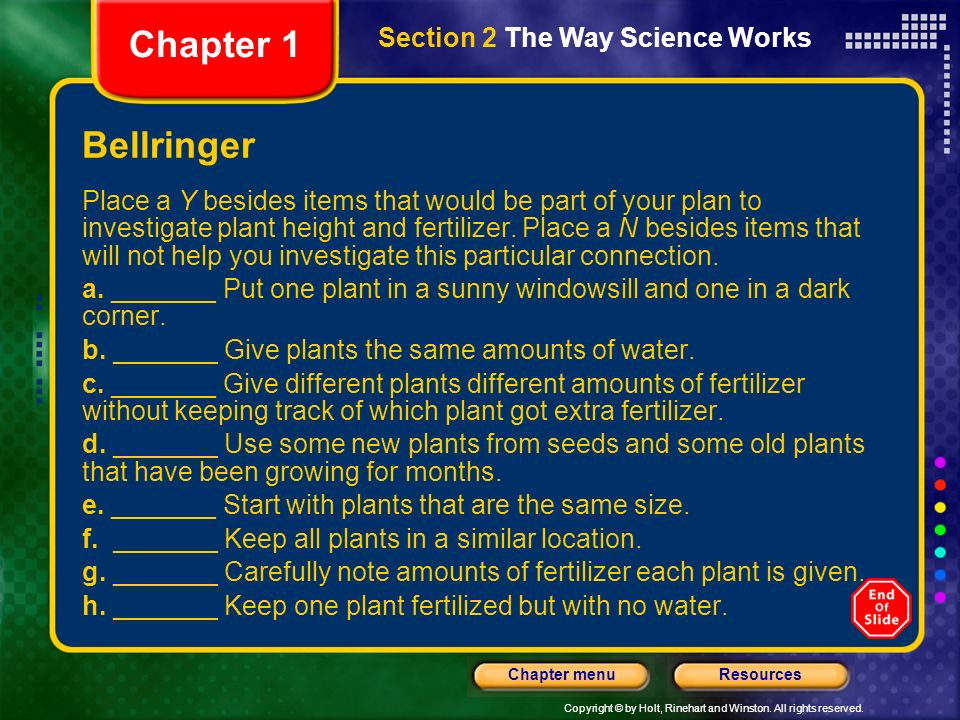 Chapter 1 Bellringer Section 2 The Way Science Works