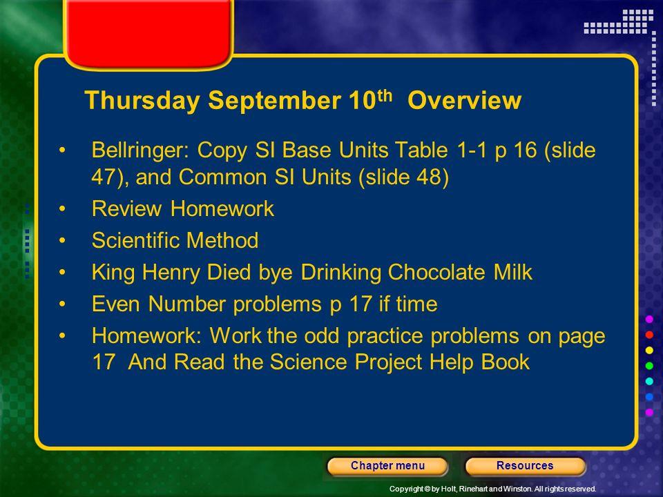 Thursday September 10th Overview