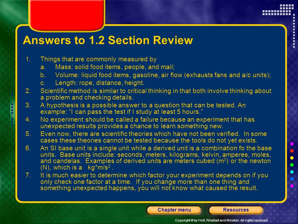 Answers to 1.2 Section Review