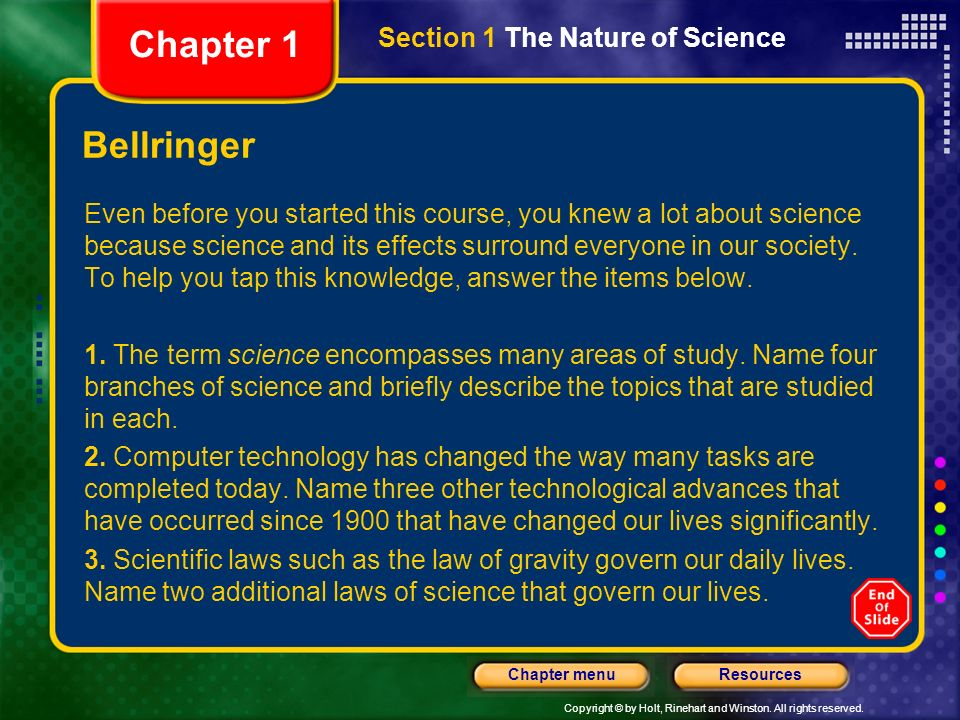 Chapter 1 Bellringer Section 1 The Nature of Science