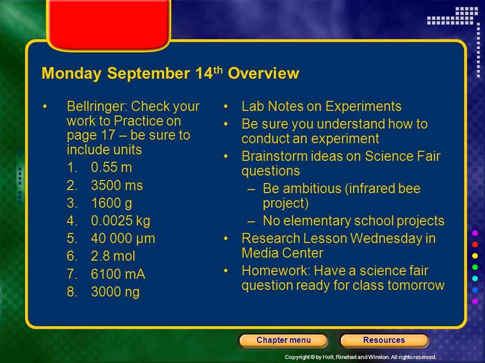 Monday September 14th Overview