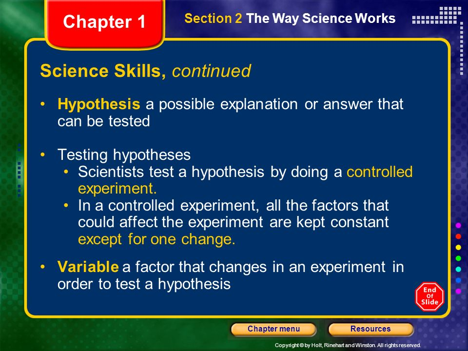 Science Skills, continued