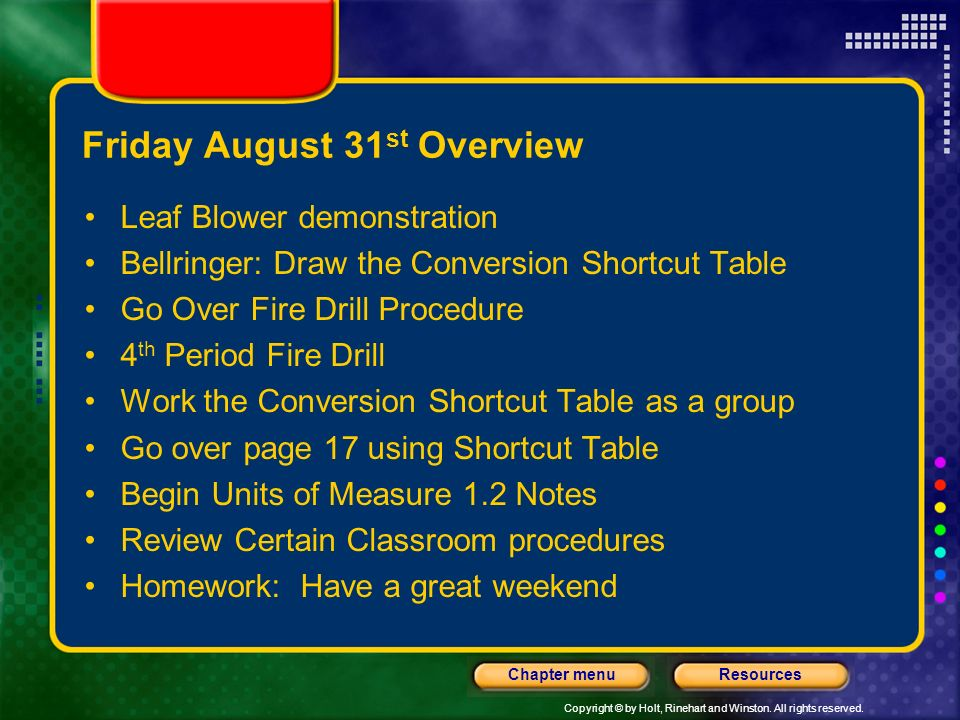 Friday August 31st Overview