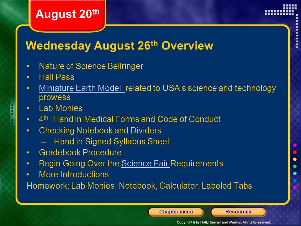 Wednesday August 26th Overview