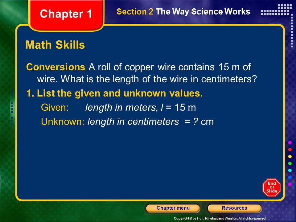 Chapter 1 Section 2 The Way Science Works. Math Skills.