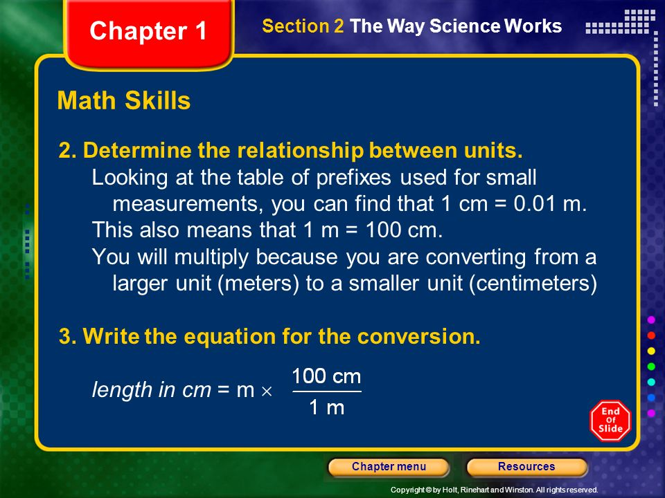 Chapter 1 Math Skills 2. Determine the relationship between units.