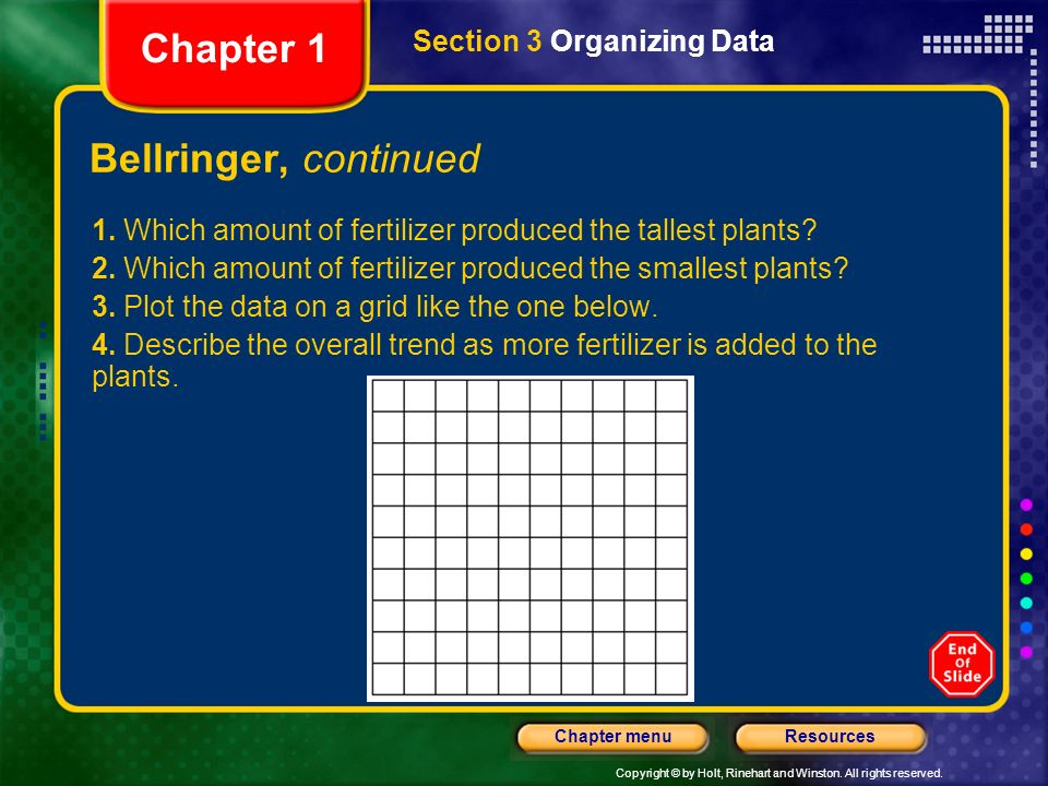 Chapter 1 Bellringer, continued Section 3 Organizing Data