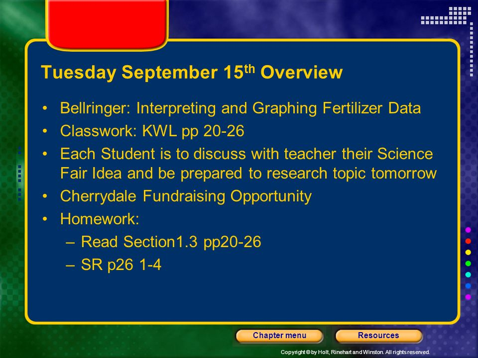 Tuesday September 15th Overview