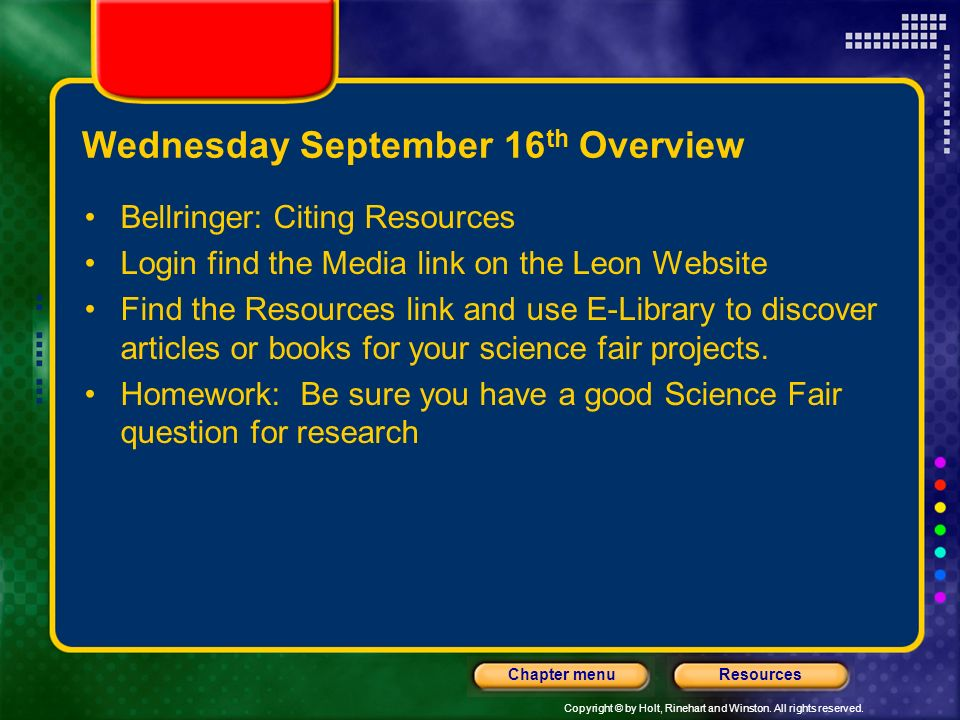Wednesday September 16th Overview
